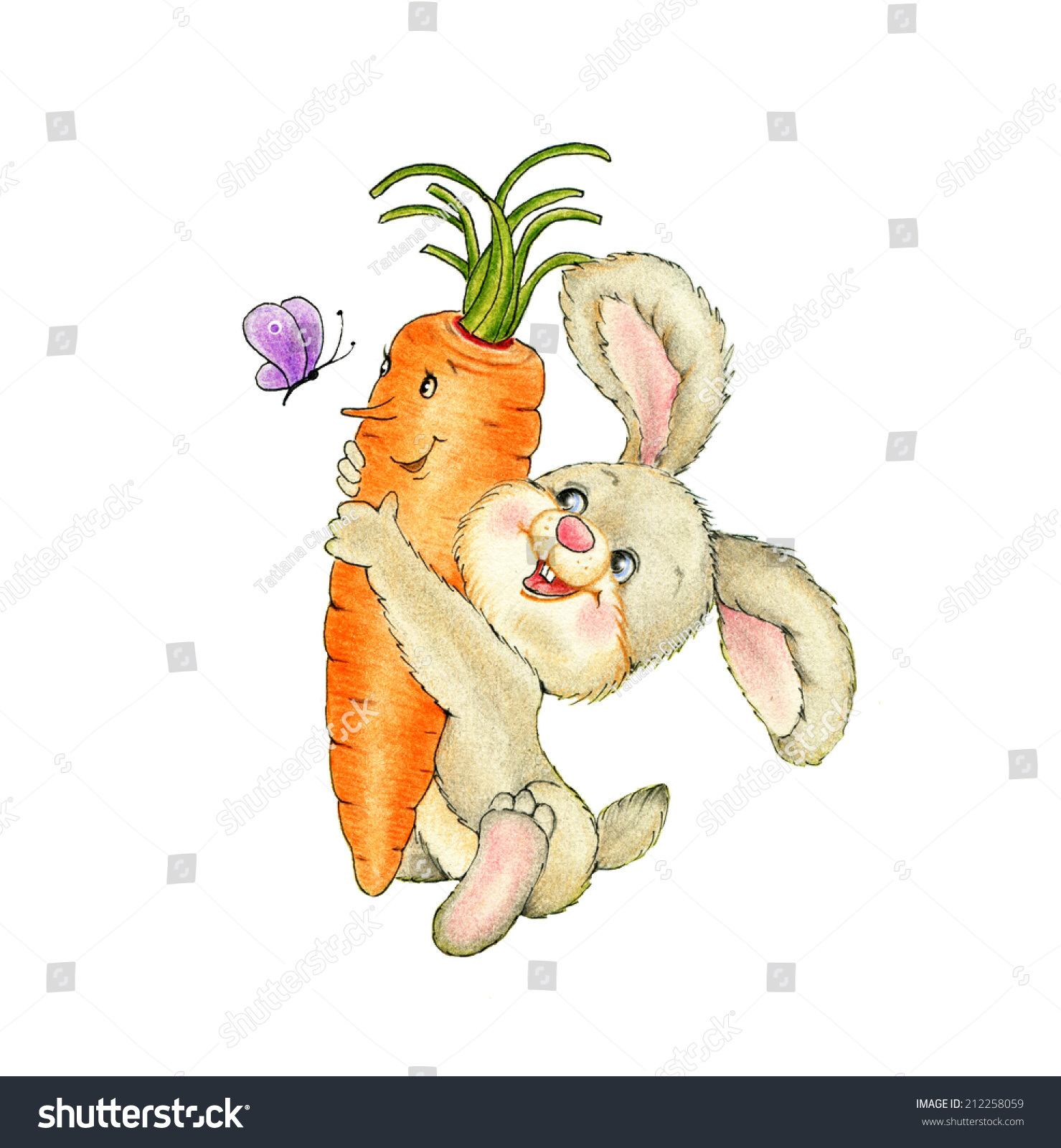 可爱的兔子和胡萝卜-背景/素材