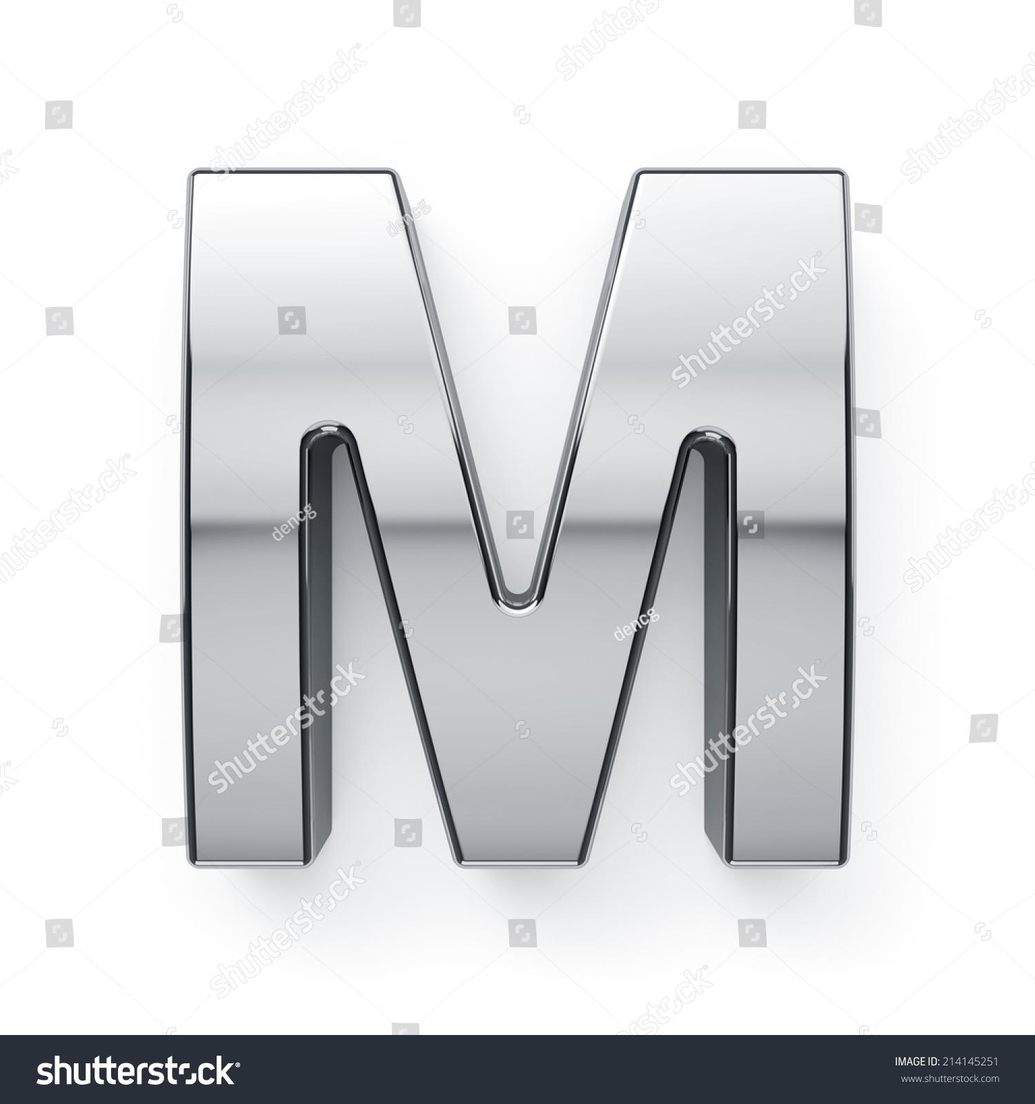 金属字母文字符号的3 d渲染——m .孤立在白色背景