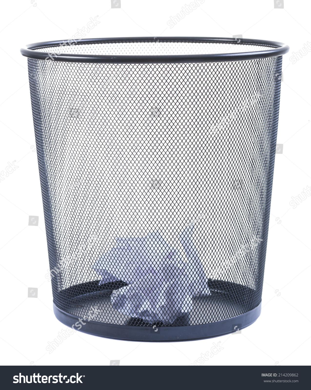 垃圾桶满了碎纸孤立在白色背景