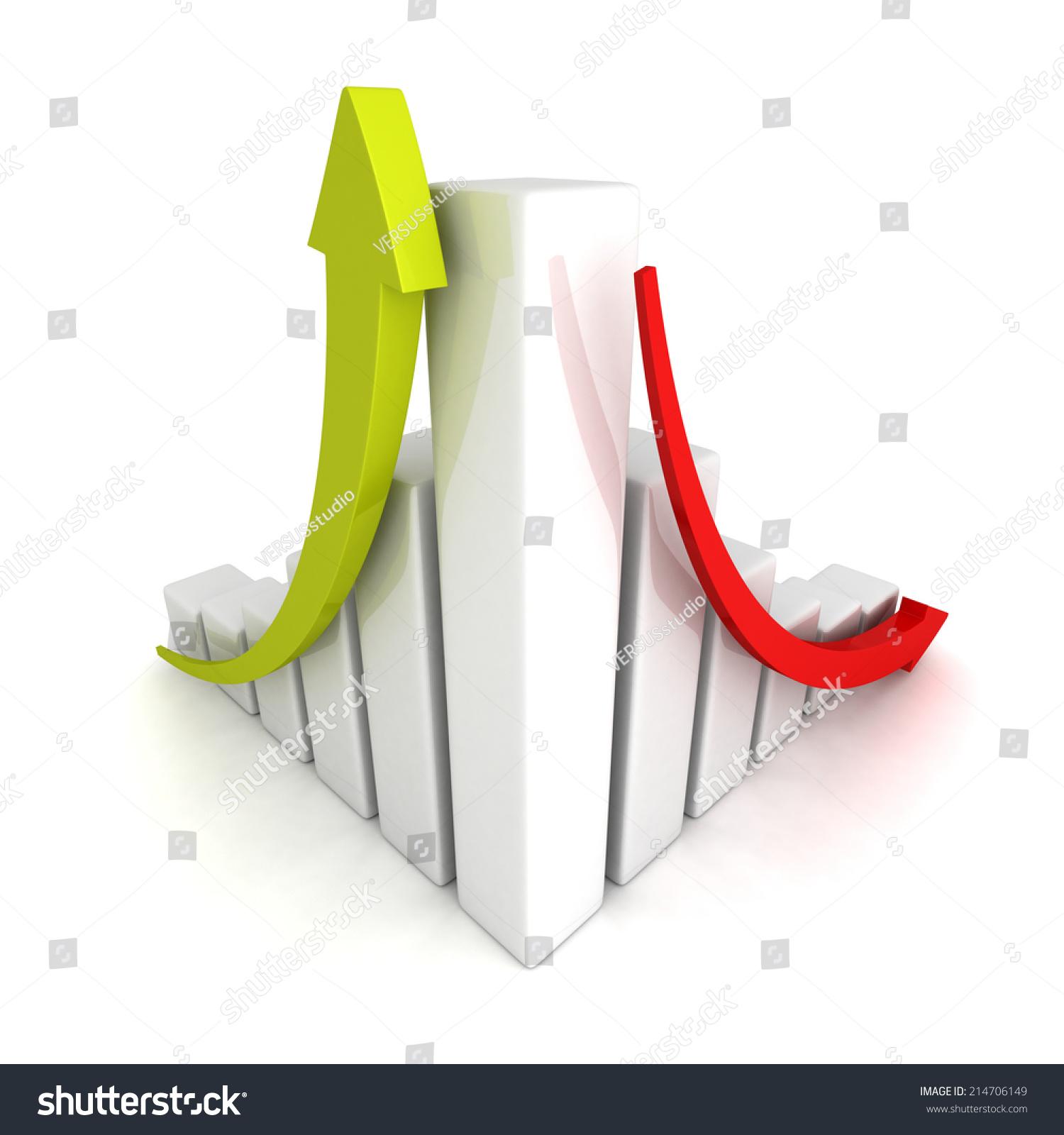 成功和危机金融条形图向上和向下箭头.3 d渲染图