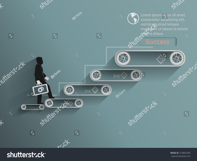 成功的楼梯设计概念.矢量图-商业/金融
