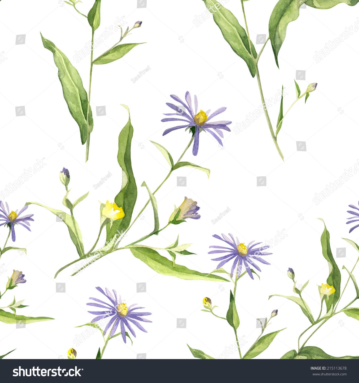 水彩手工制作的装饰与白色背景彩色模式集和蓝色花朵
