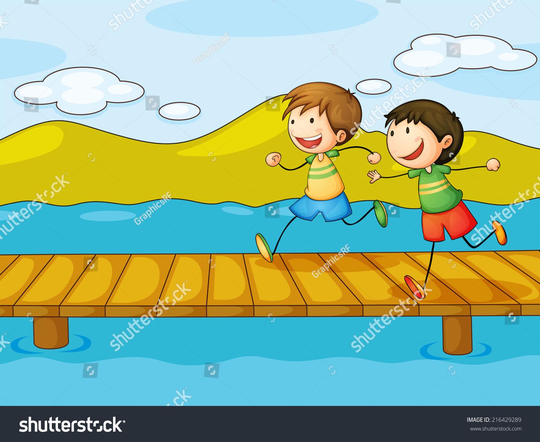 插图的小男孩在桥上玩-人物-海洛创意(hellorf)-中国