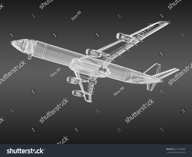 三维模型飞机飞行在渐变背景