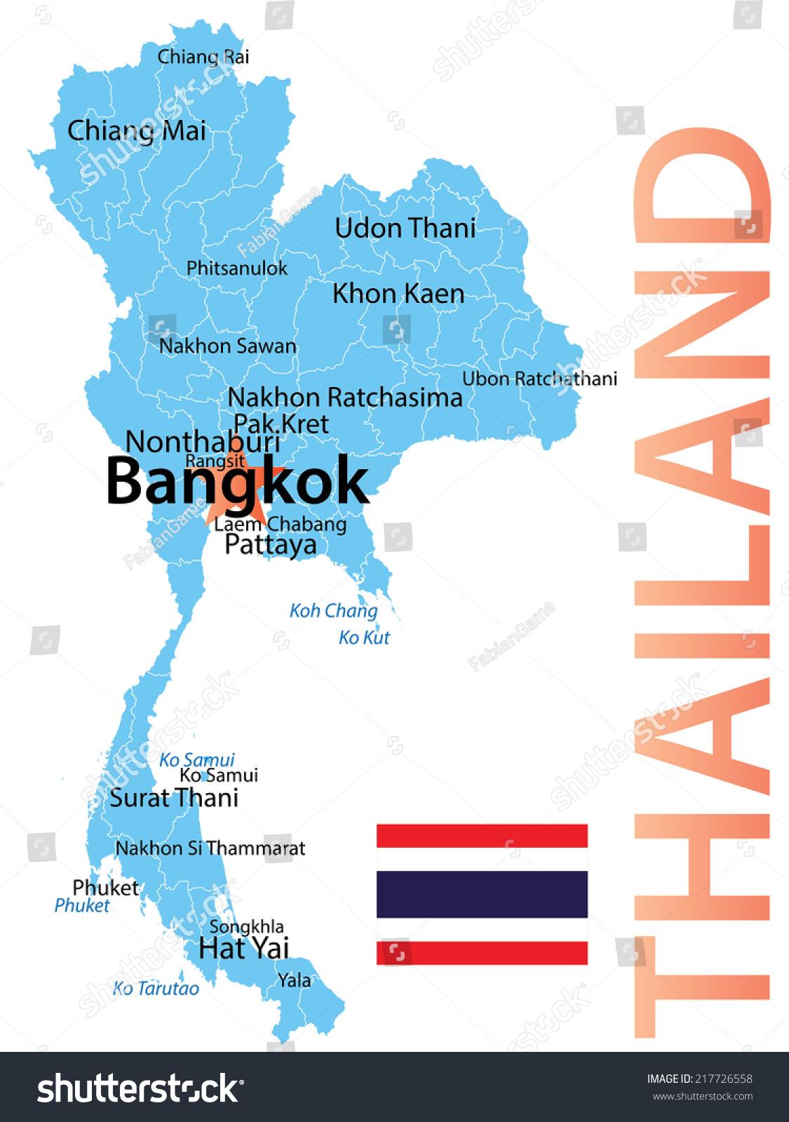 泰国——与最大城市地图