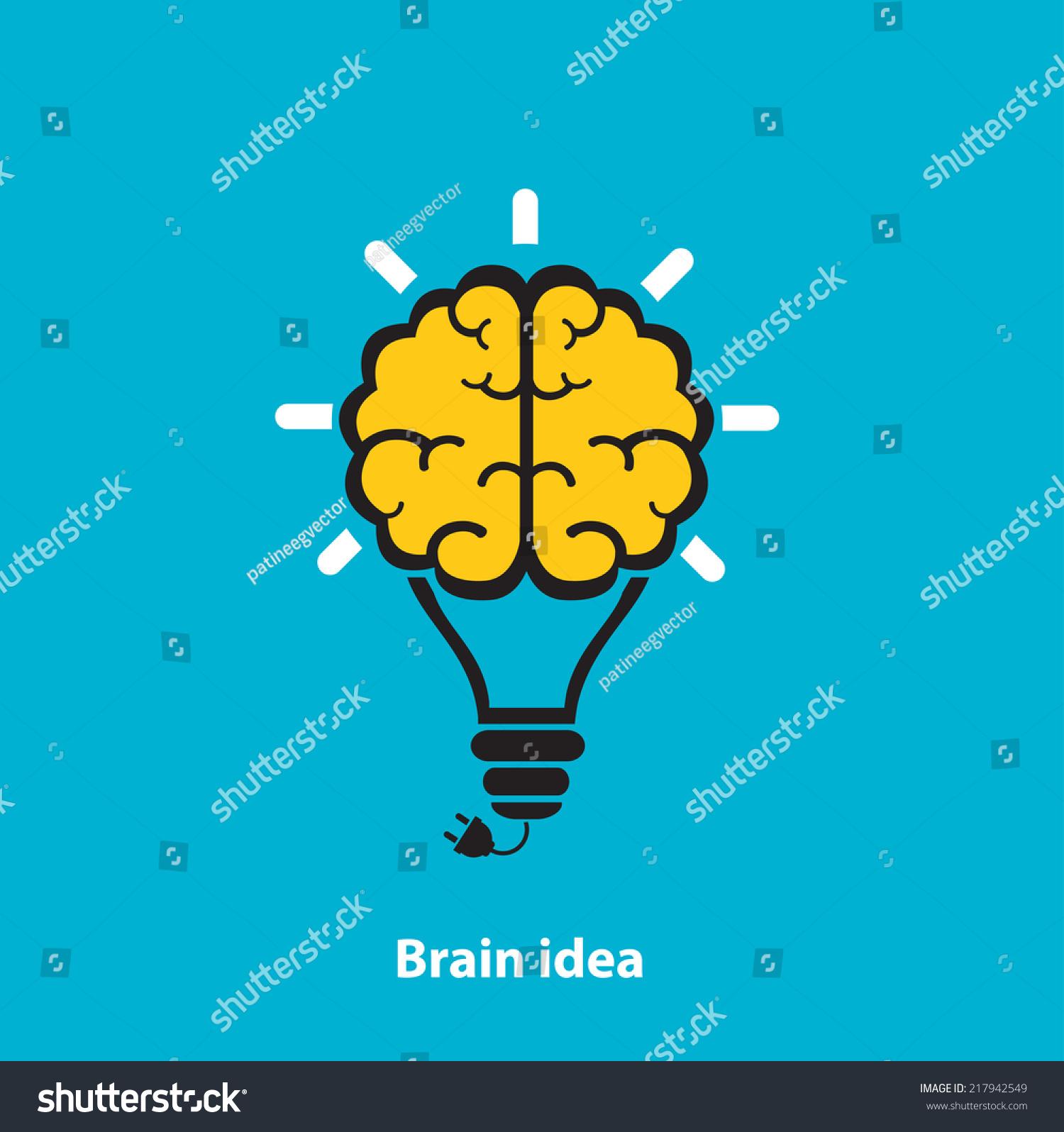 大脑灯泡图标在蓝色的背景上-背景/素材,符号/标志-()