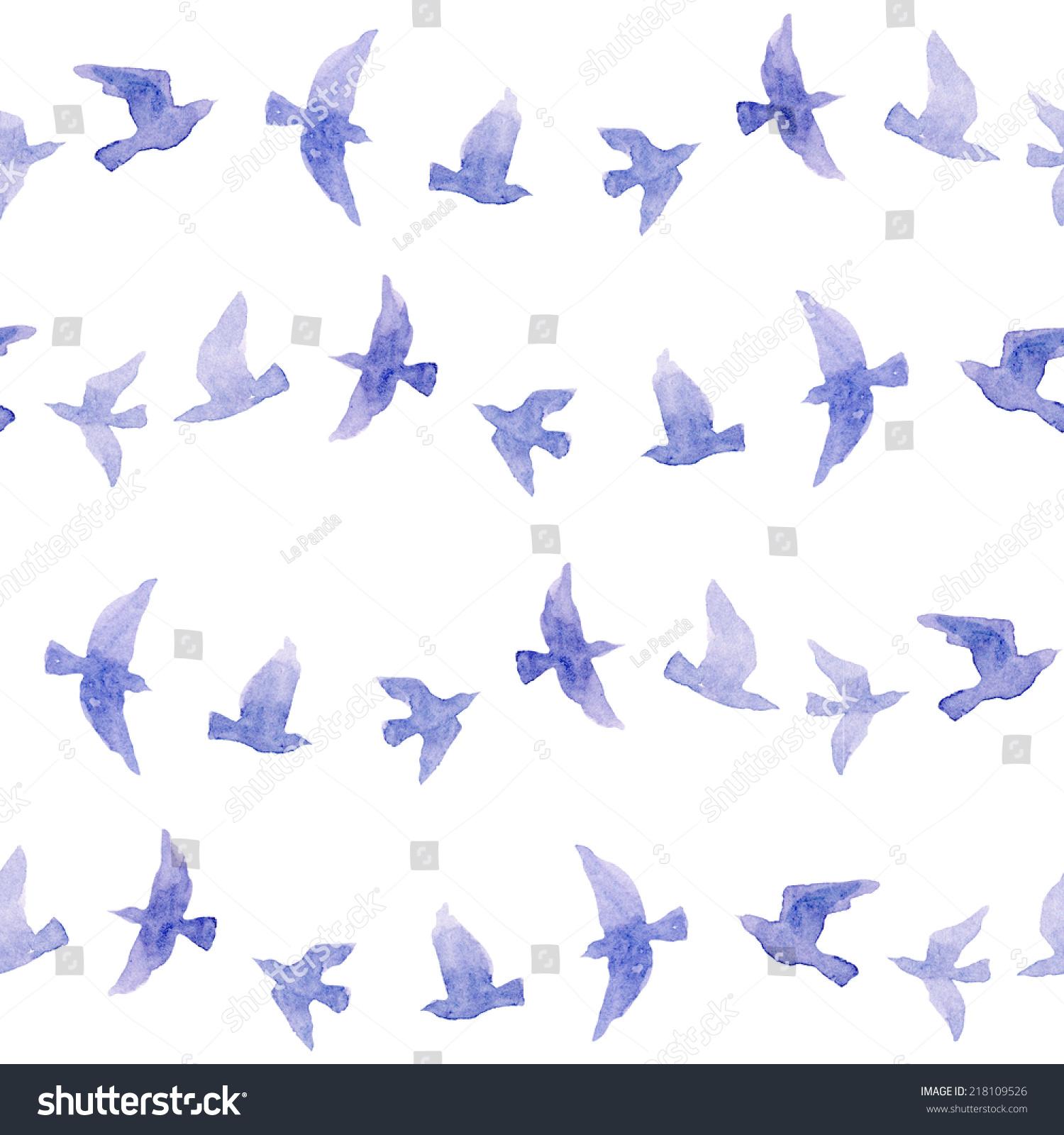 可爱的重复图案与天真的水彩鸟-动物/野生生物,背景