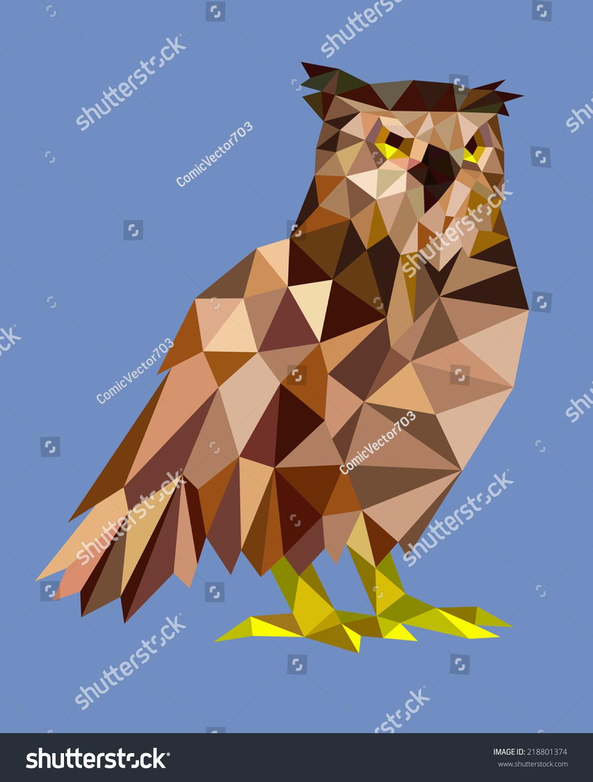 猫头鹰三角形低多边形的风格