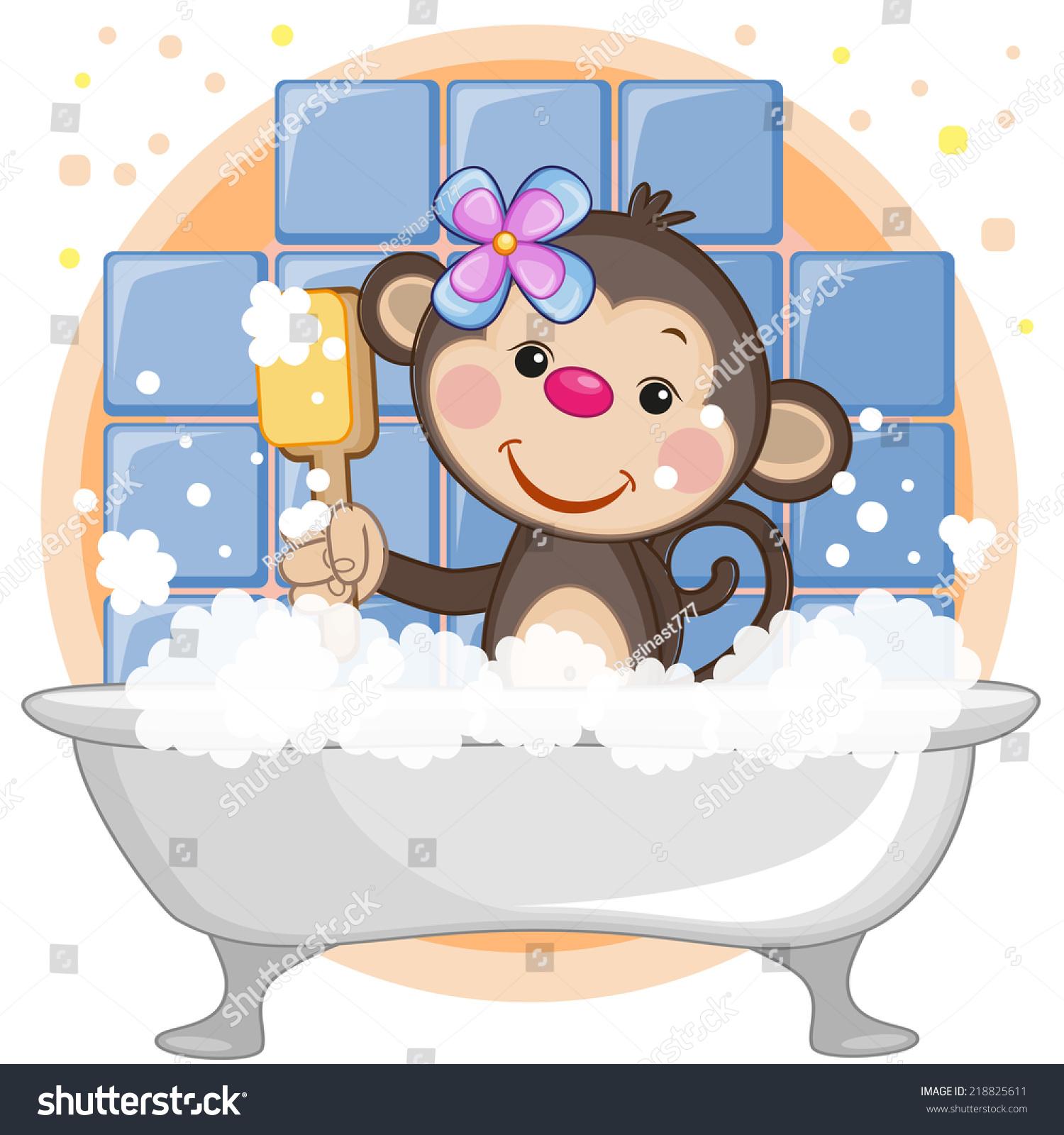 可爱的卡通猴子在浴室里-动物/野生生物-海洛创意()