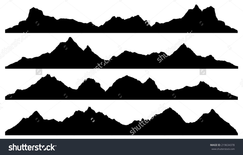 山的轮廓在白色背景上