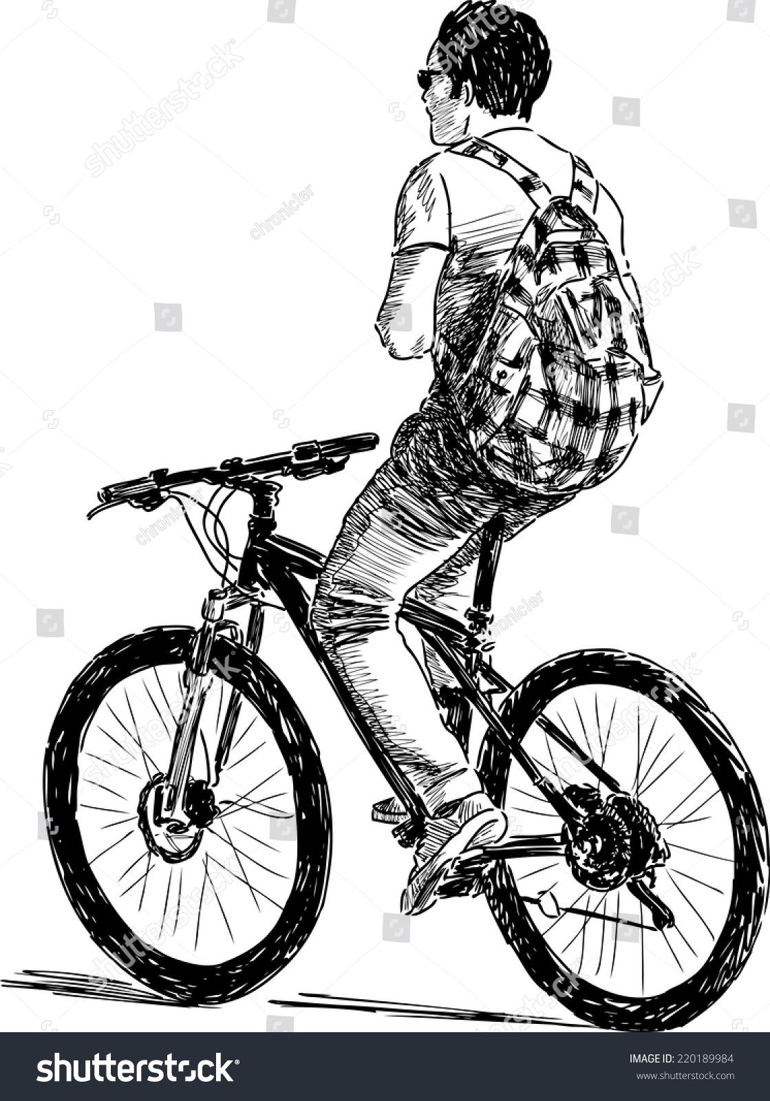 骑自行车与网纹背包-运动/娱乐活动