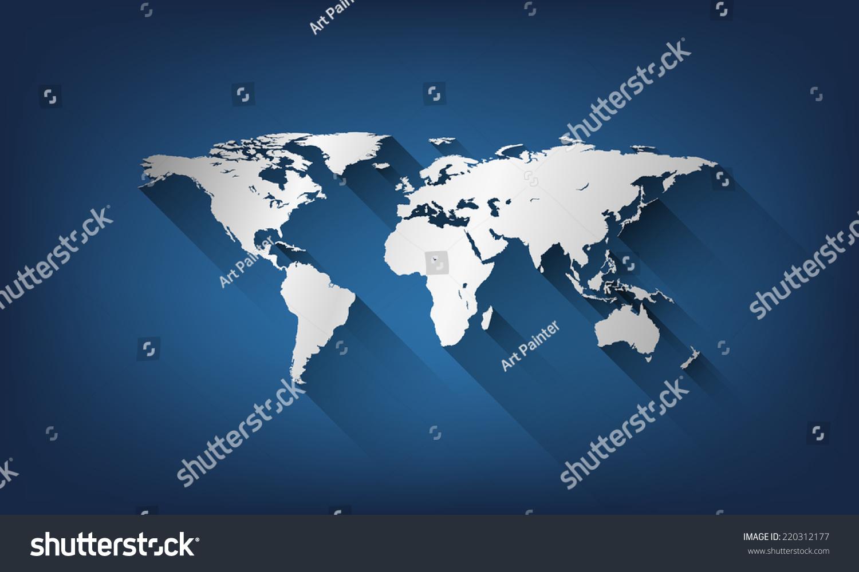 背景矢量平面风格世界地图插图.-背景/素材,符号/标志