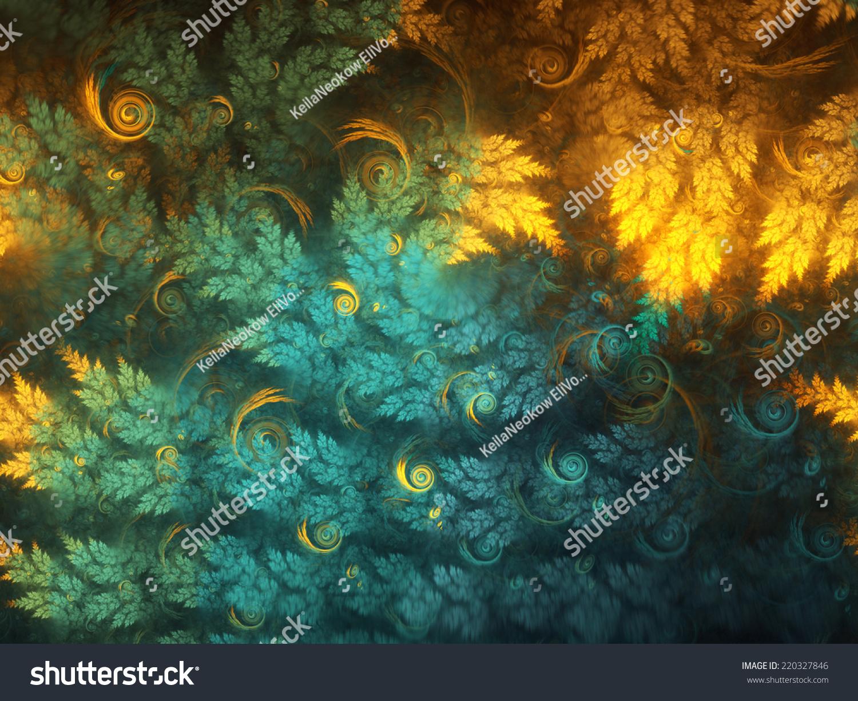 摘要分形树的枝条的漩涡,对图形创意设计的数字艺术
