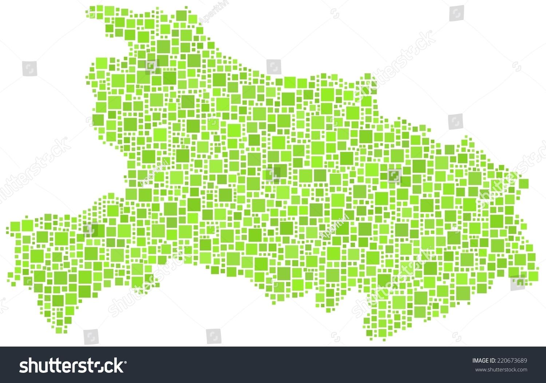 装饰地图中国湖北省的镶嵌绿色广场