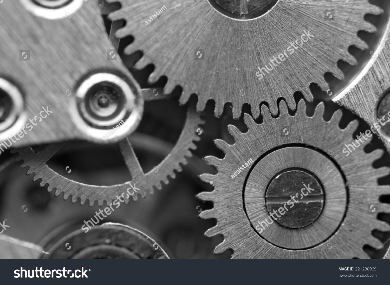 用金属齿轮发条黑白色背景.成功的商业设计概念图.宏
