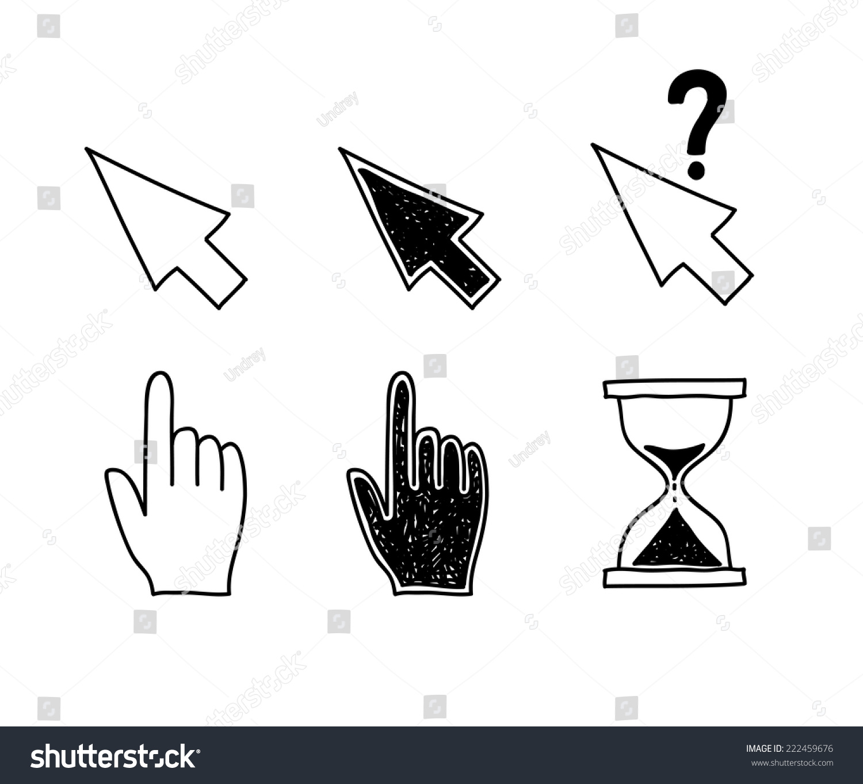 手绘图标鼠标光标指针箭头沙漏.点击,按矢量插图和触摸操作