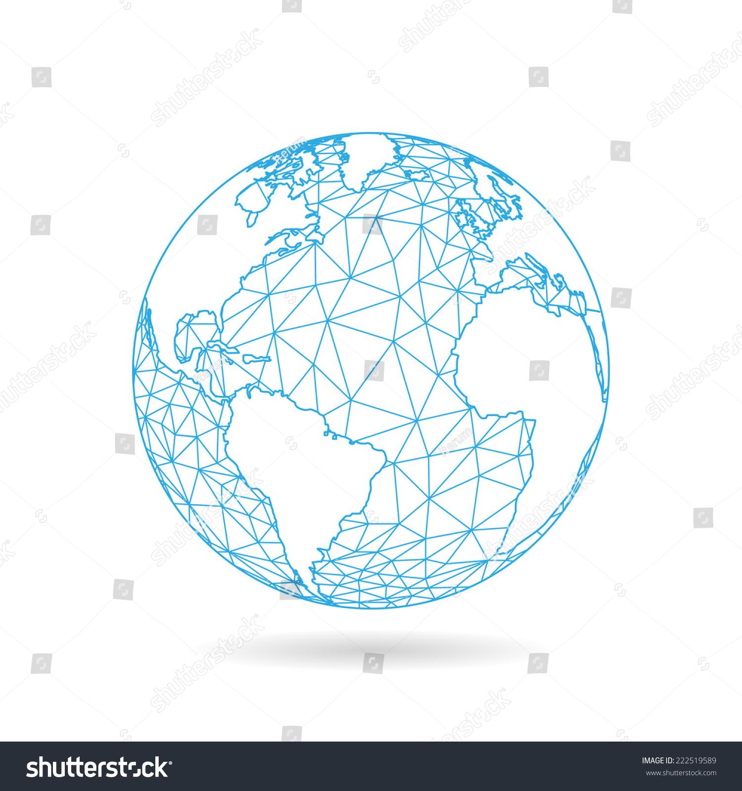几何抽象地球球体概念图.白光背景下的矢量图形模板