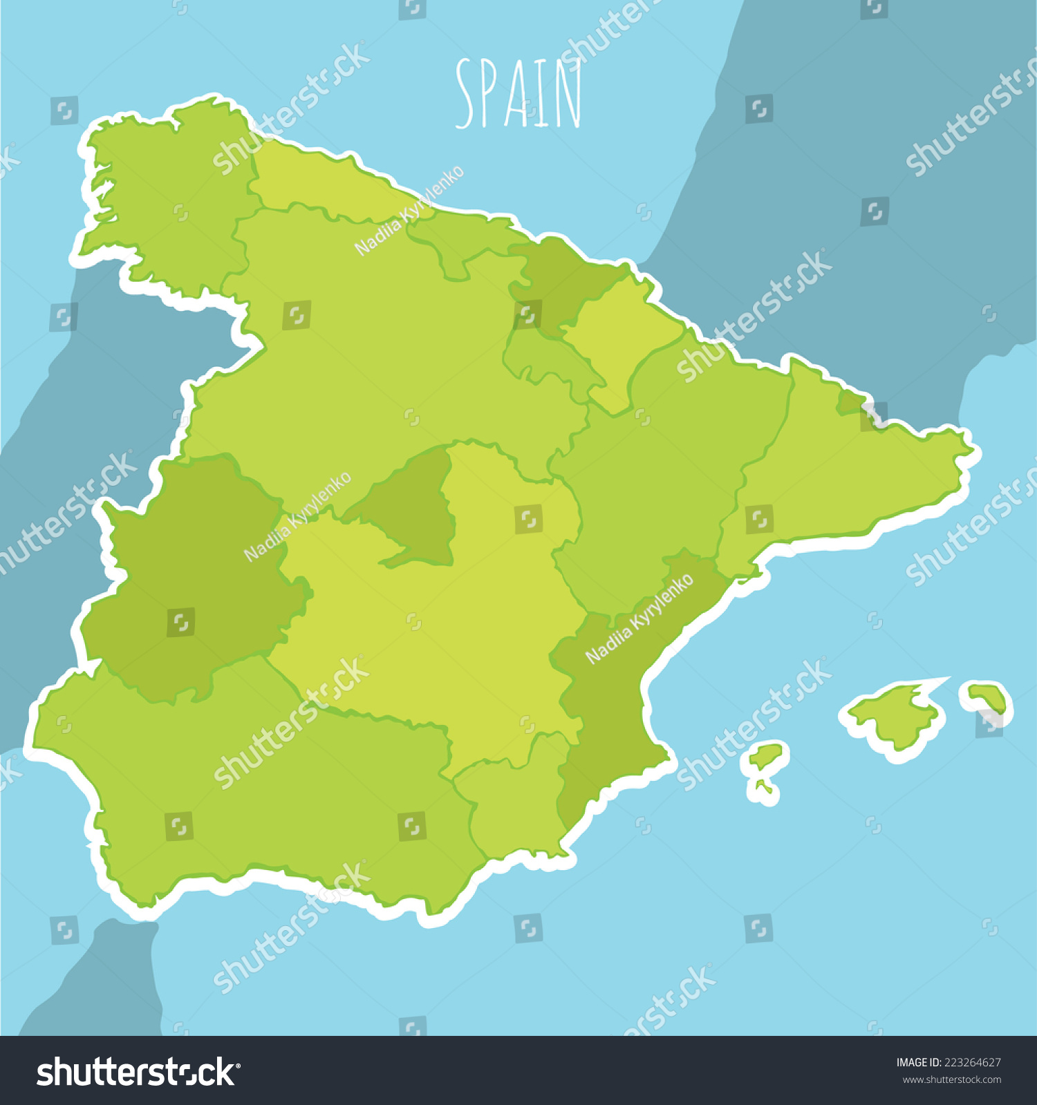 西班牙的矢量地图在蓝色背景上的地区-教育