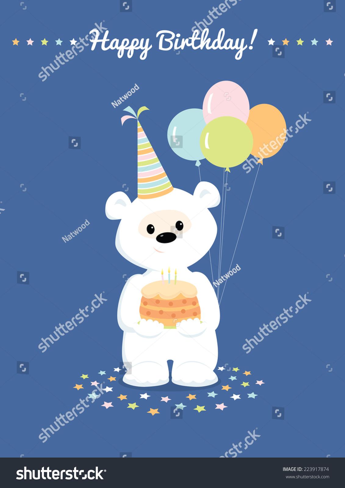 可爱的白色泰迪熊的生日蛋糕和气球-假期-海洛创意()