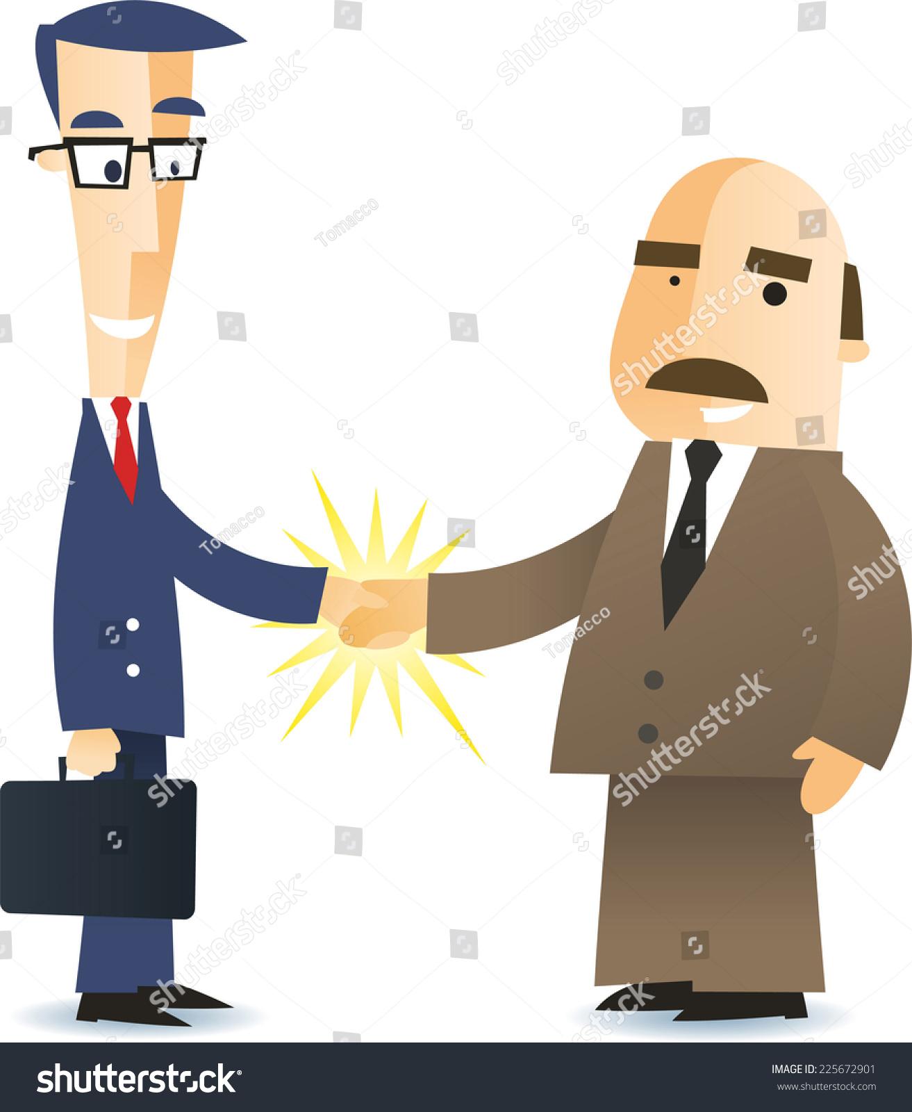 两个业务男人握手达成协议卡通插图-商业/金融,人物图片