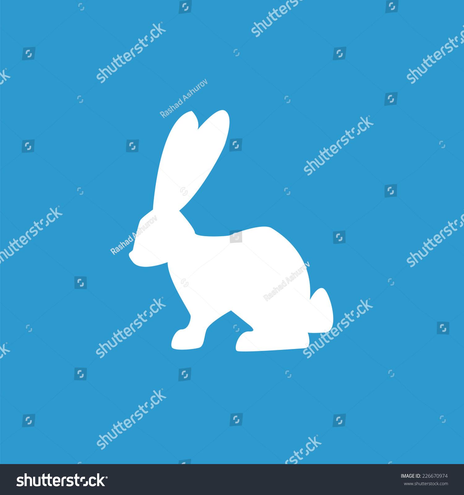 兔子图标,孤立的,在蓝色背景白色
