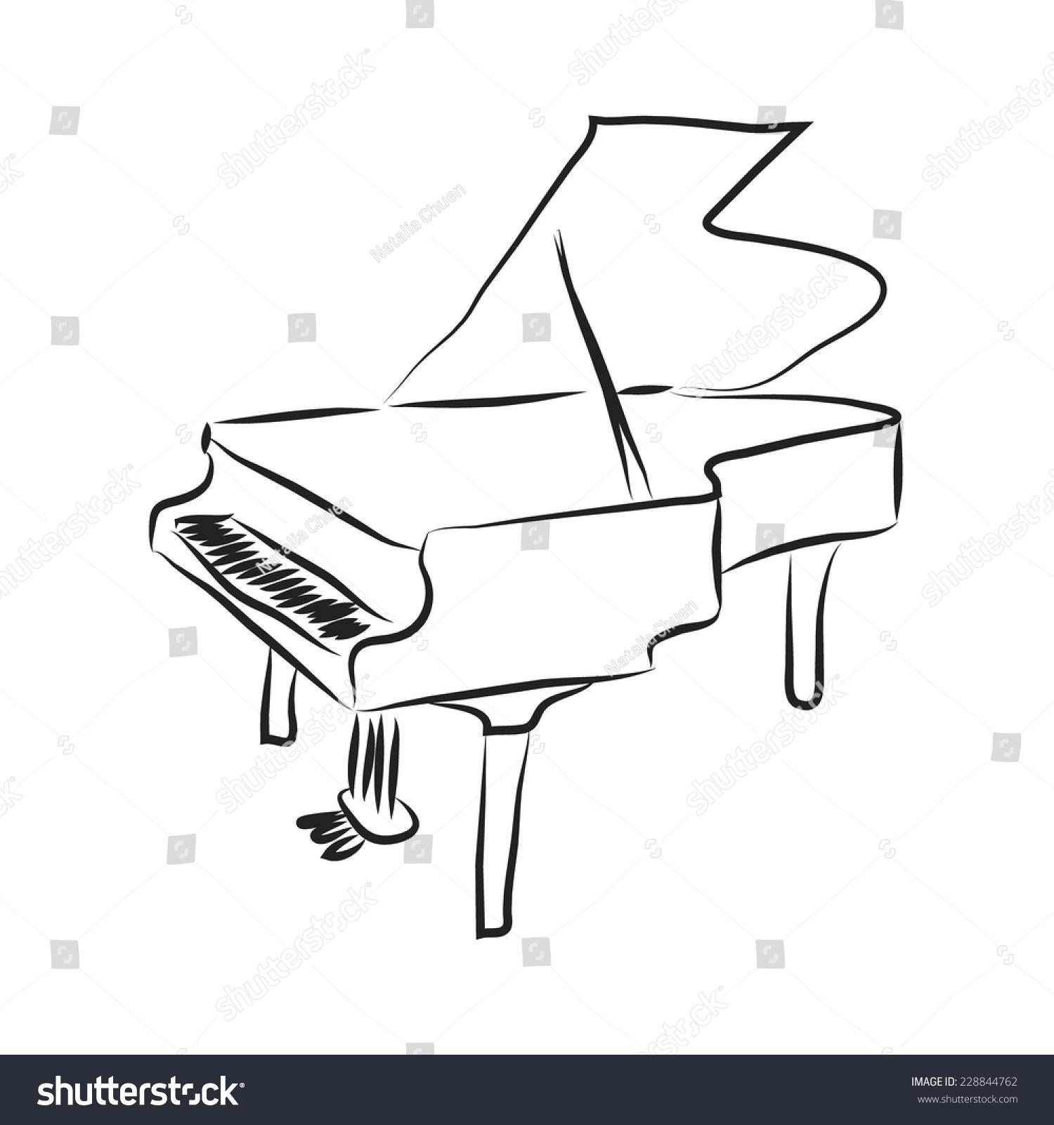 黑色和白色卡通钢琴.矢量彩色草图