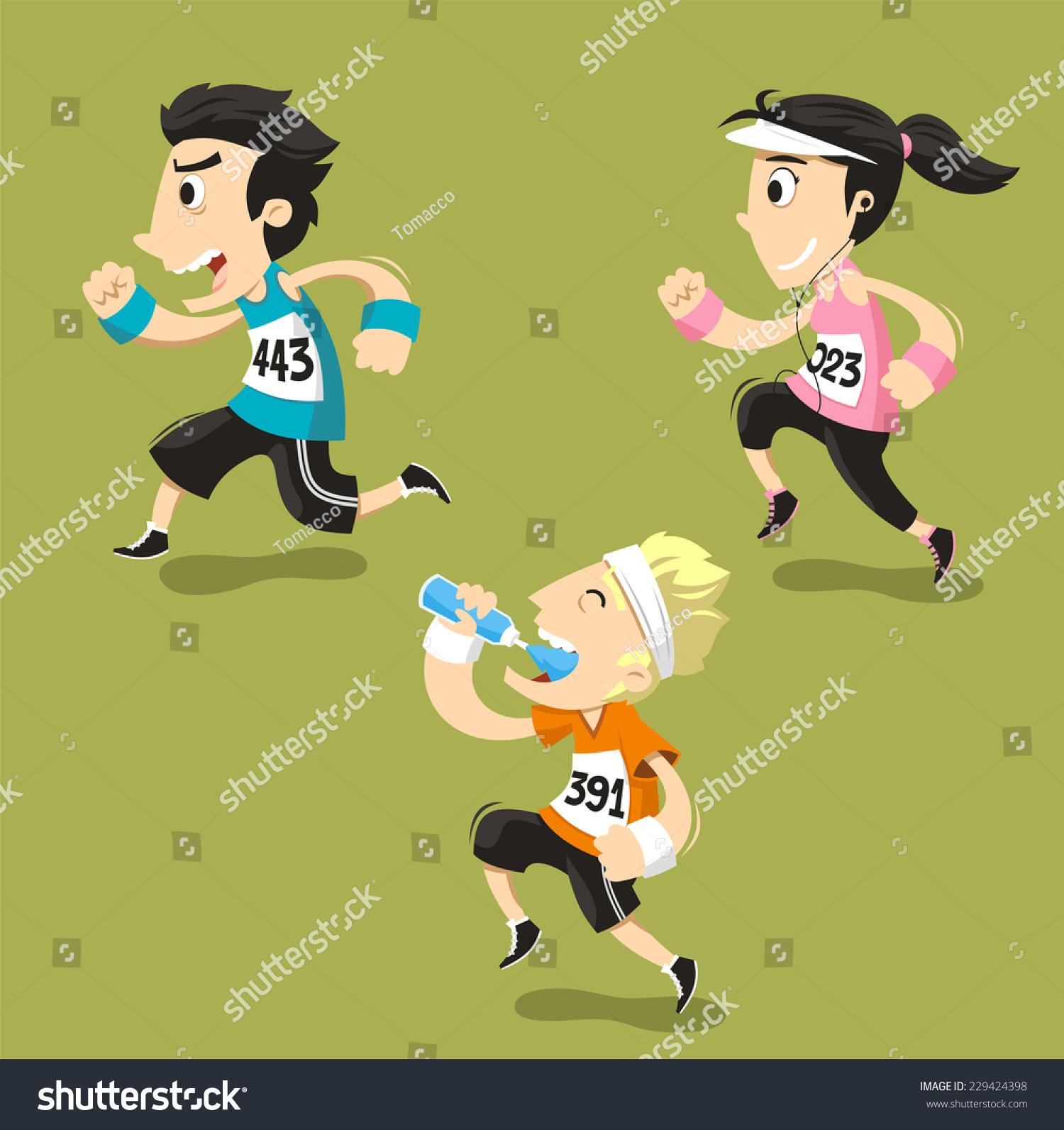 跑步跑步运动员训练慢跑,矢量插图漫画.-人物,运动