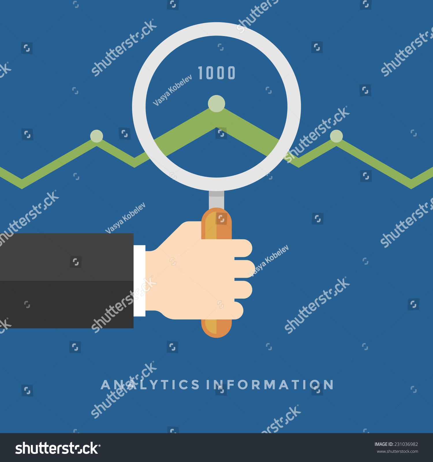 商人的手拿着放大镜增长图表云分析信息平面设计矢量