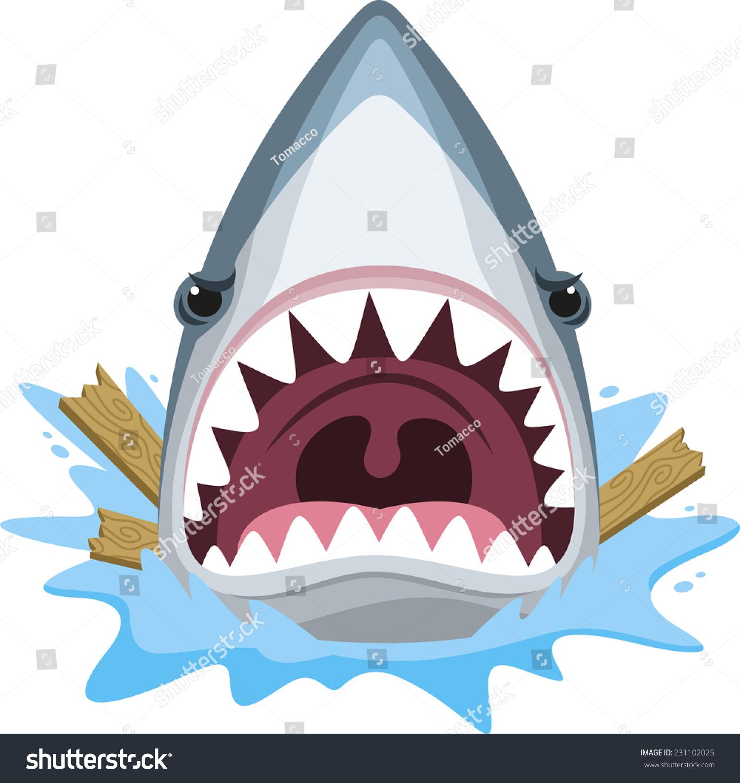 鲨鱼攻击牙齿疯狂愤怒,矢量插图卡通.-动物/野生生物
