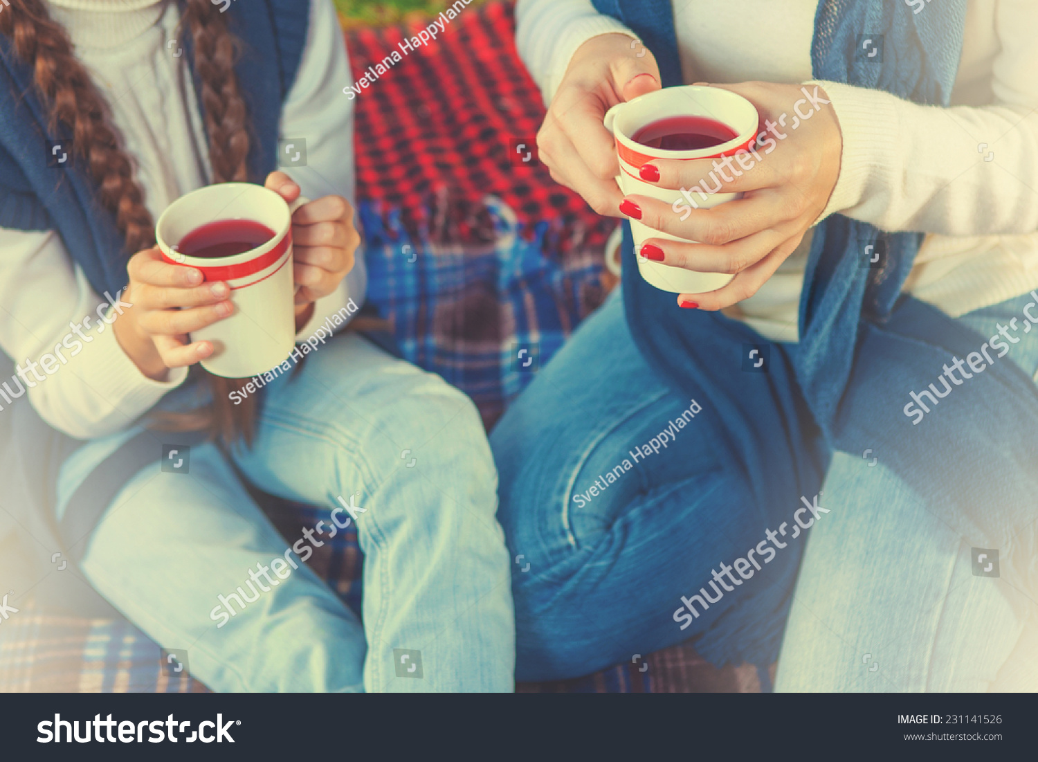 drinking tea or a cup of tea. hands woman and