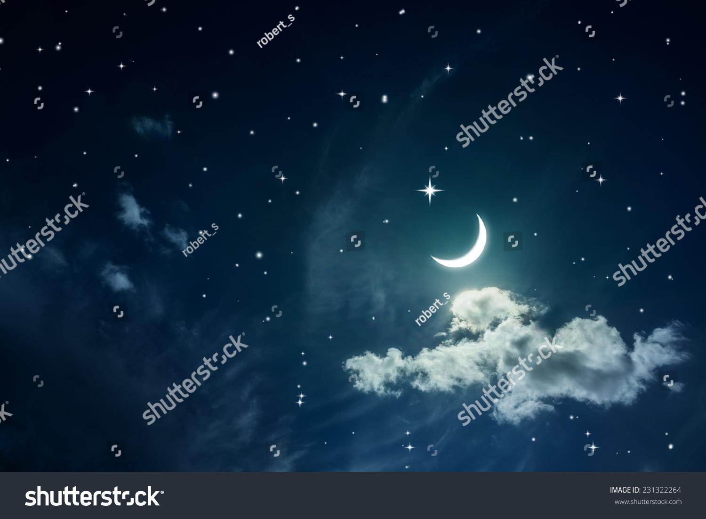 夜空的星星和月亮-背景/素材,自然-海洛创意(hellorf)