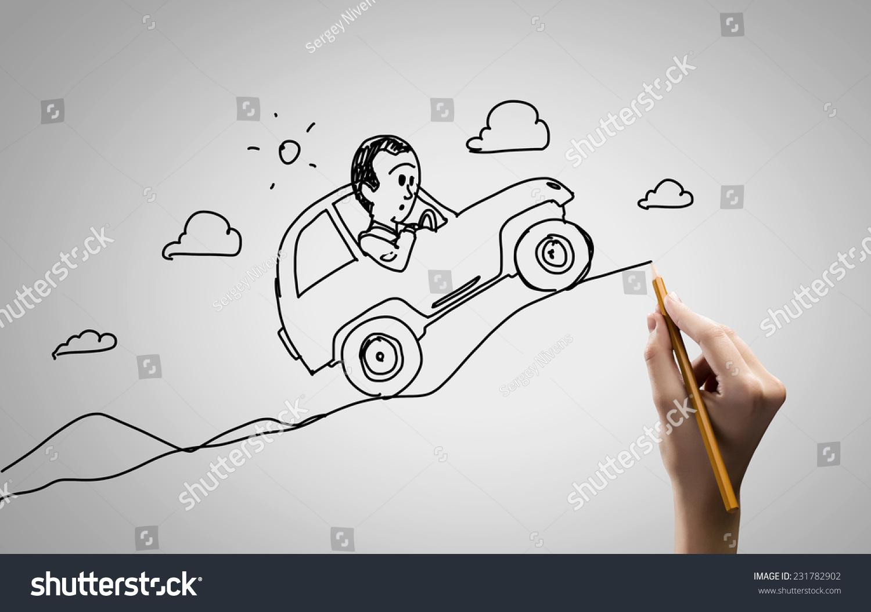 近距离与铅笔手绘草图-交通运输,人物-海洛创意()-合.