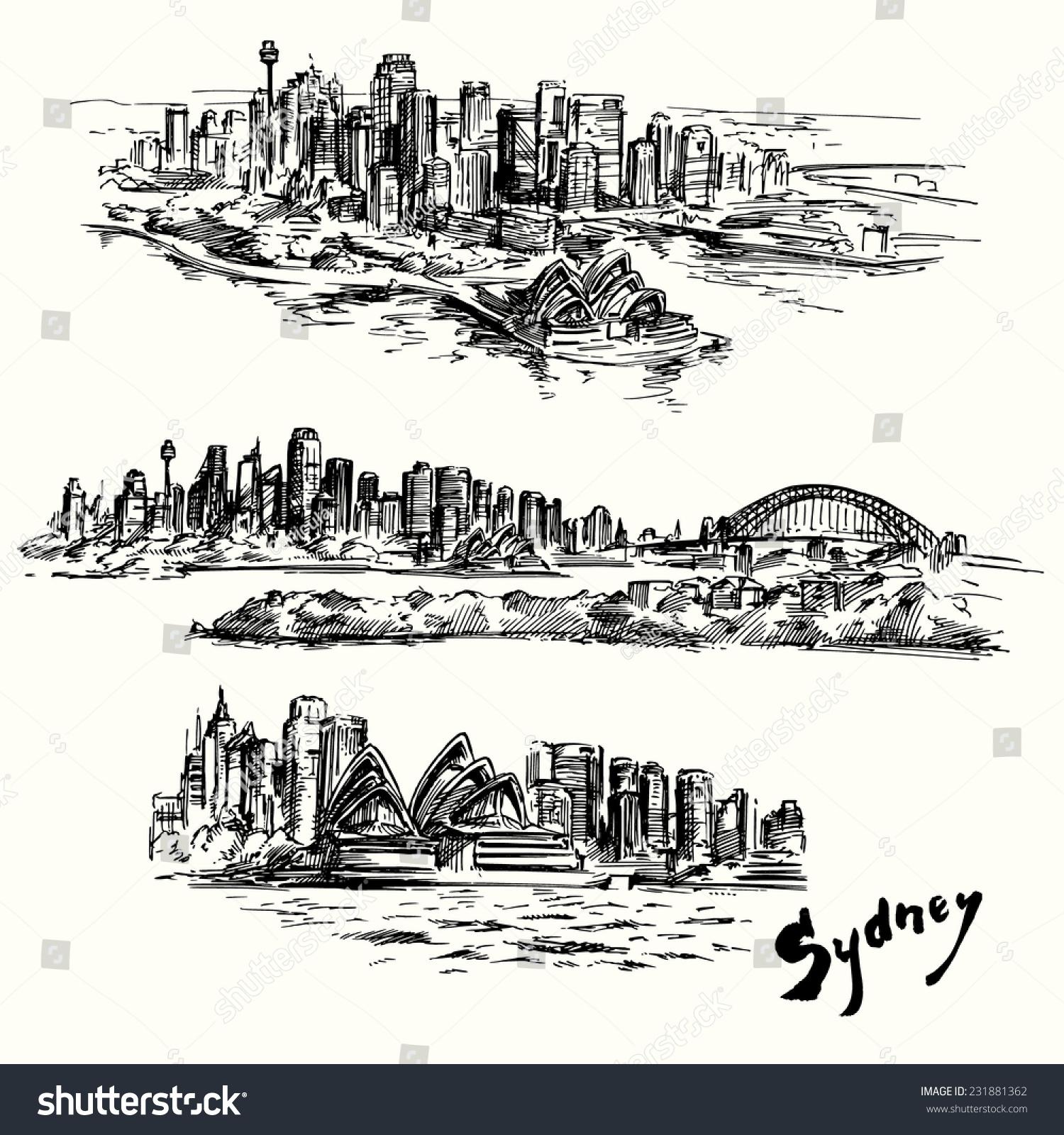 悉尼-手绘集合-建筑物/地标,背景/素材-海洛创意()-合
