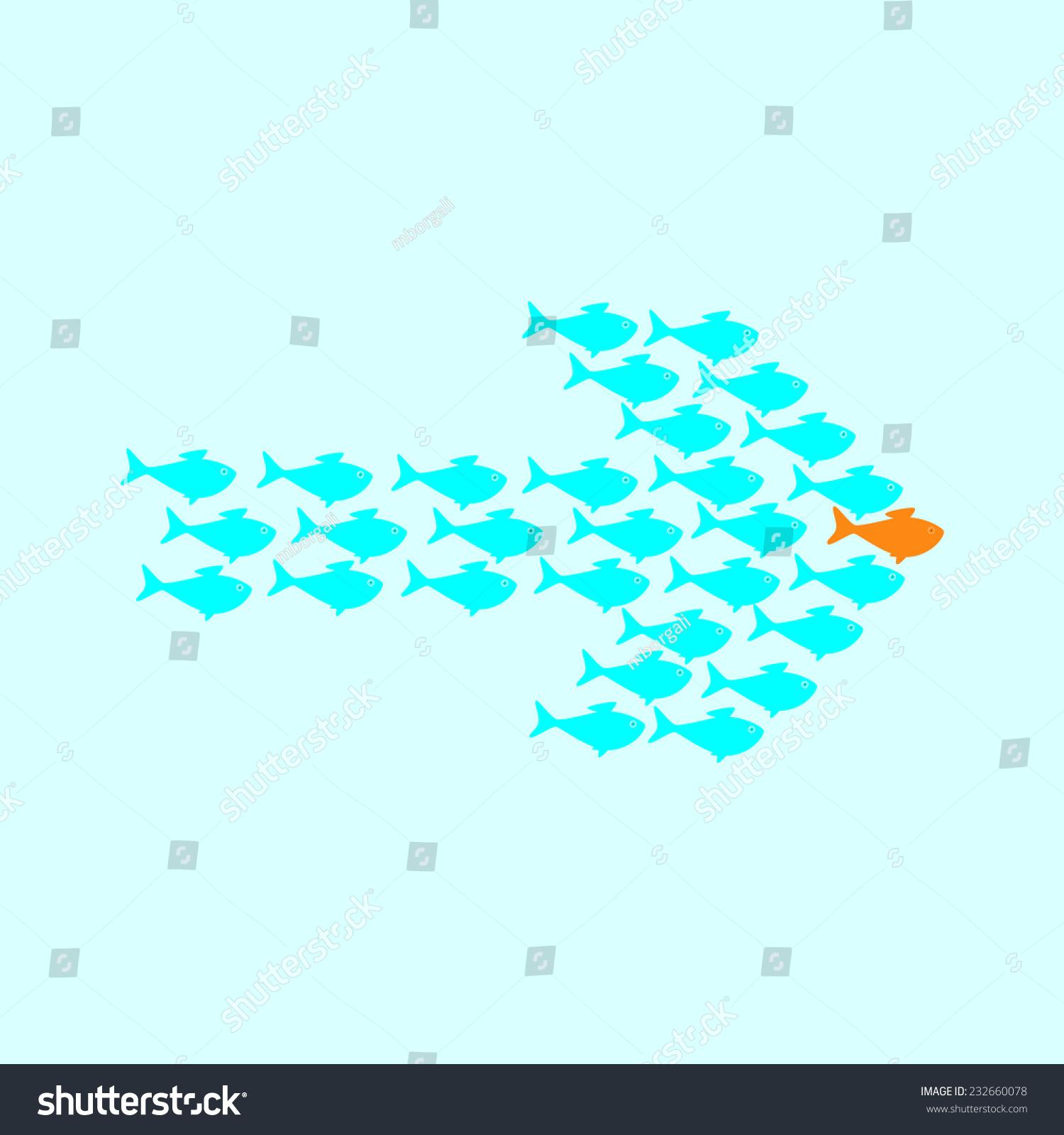 学校可爱的青瓷鱼游泳在箭头的形状背后的金鱼的领袖.