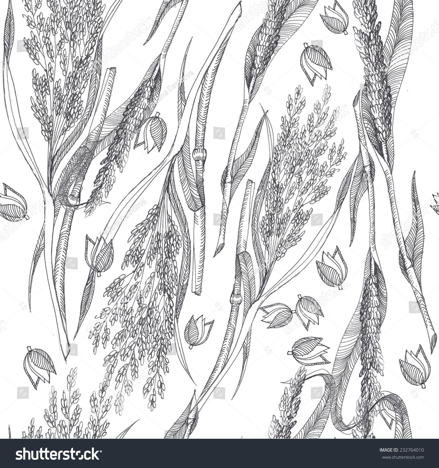 手绘无缝的小米模式-背景/素材
