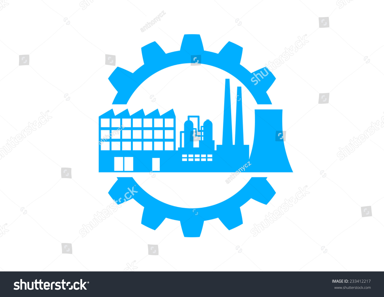 蓝色工业图标在白色背景-工业-海洛创意(hellorf)