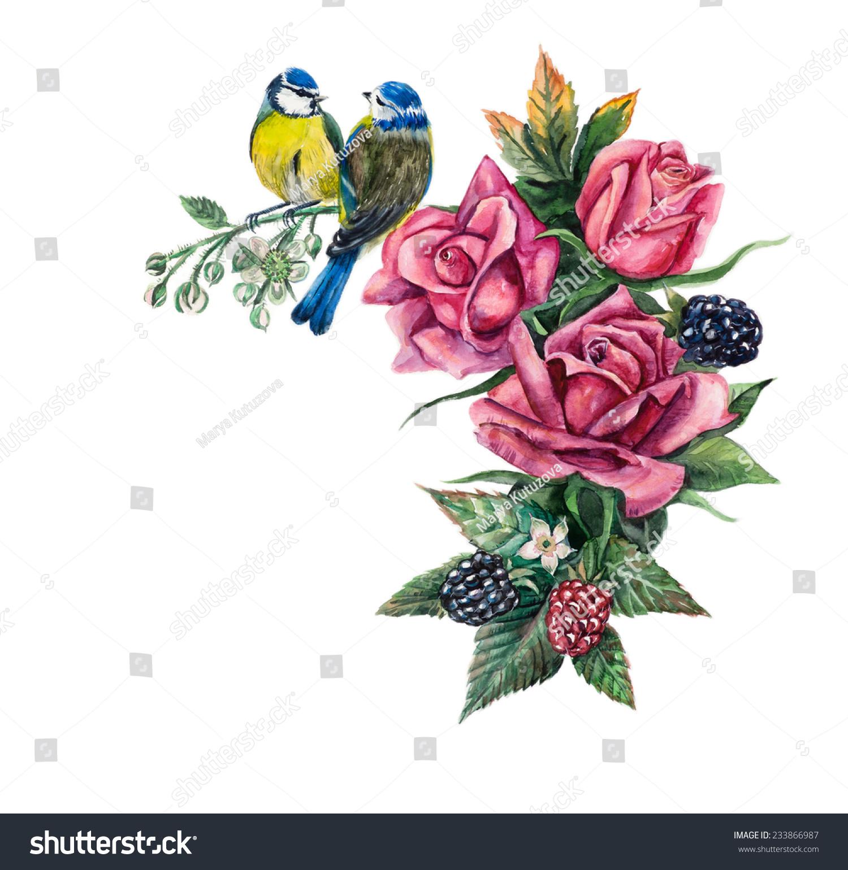 手里拿着玫瑰花.玫瑰分支.水彩手绘插图