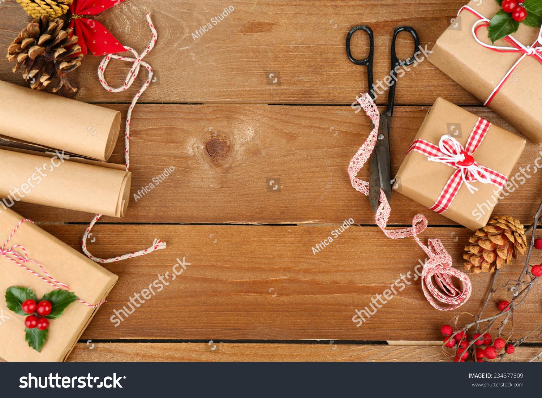 美丽的圣诞节与手工制作的礼物作文木制背景-假期