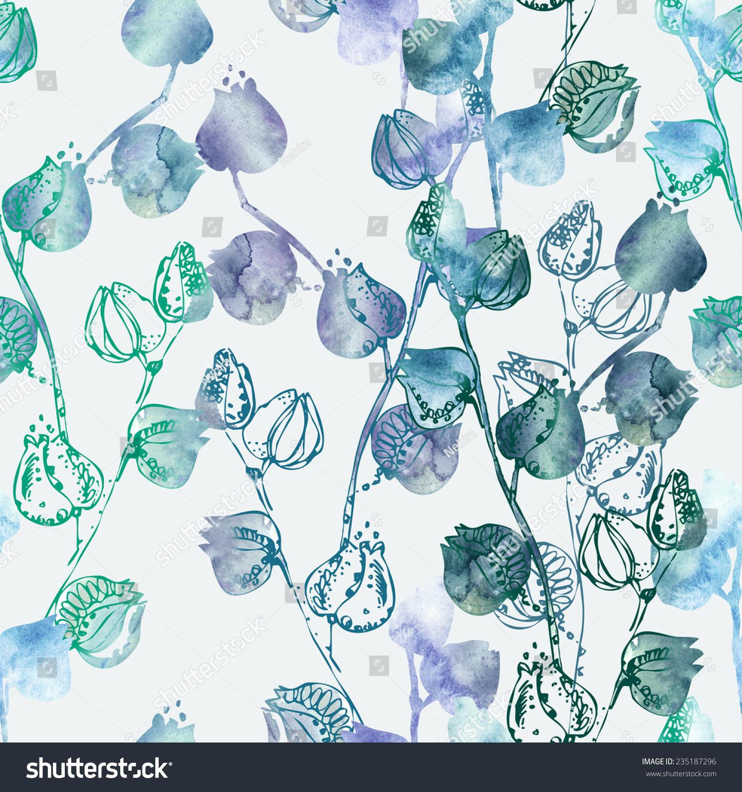 花卉无缝模式-背景/素材