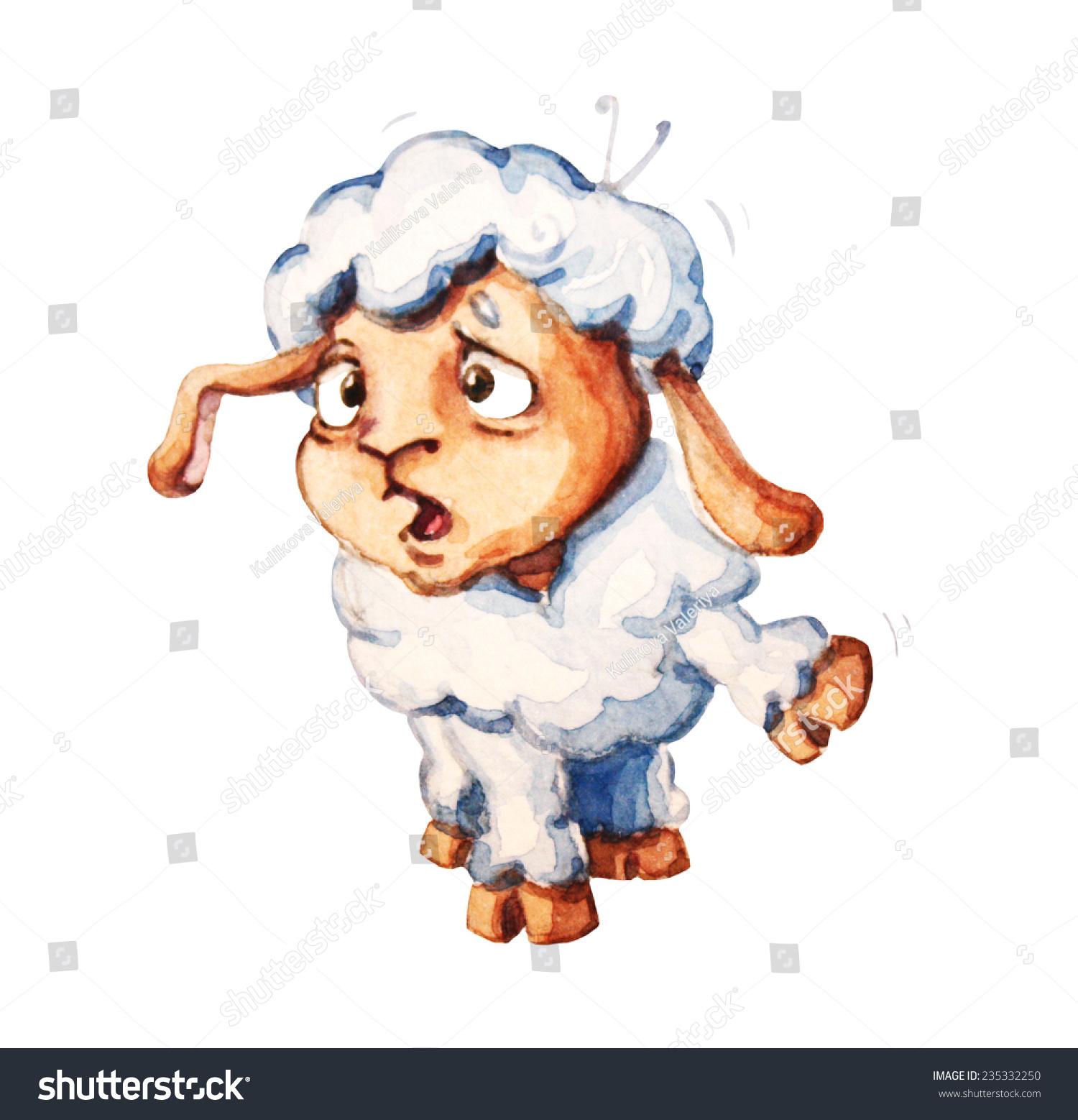 可爱的小羊羔的水彩插图-动物/野生生物
