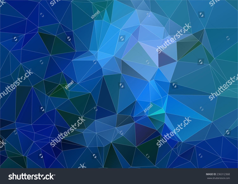 蓝色青色三角形多边形背景-背景/素材