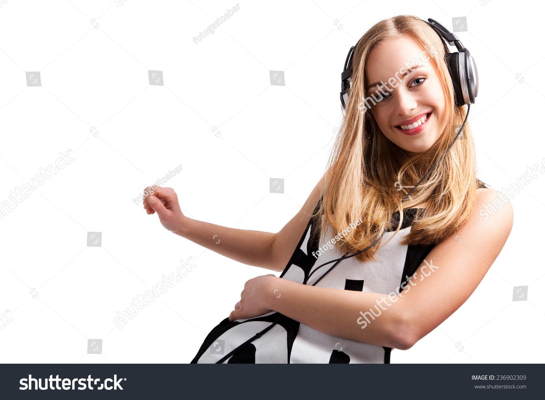 女孩听音乐跳舞-艺术,运动/娱乐活动-海洛创意()