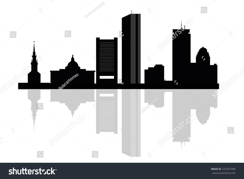 波士顿城市天际线轮廓背景.矢量图