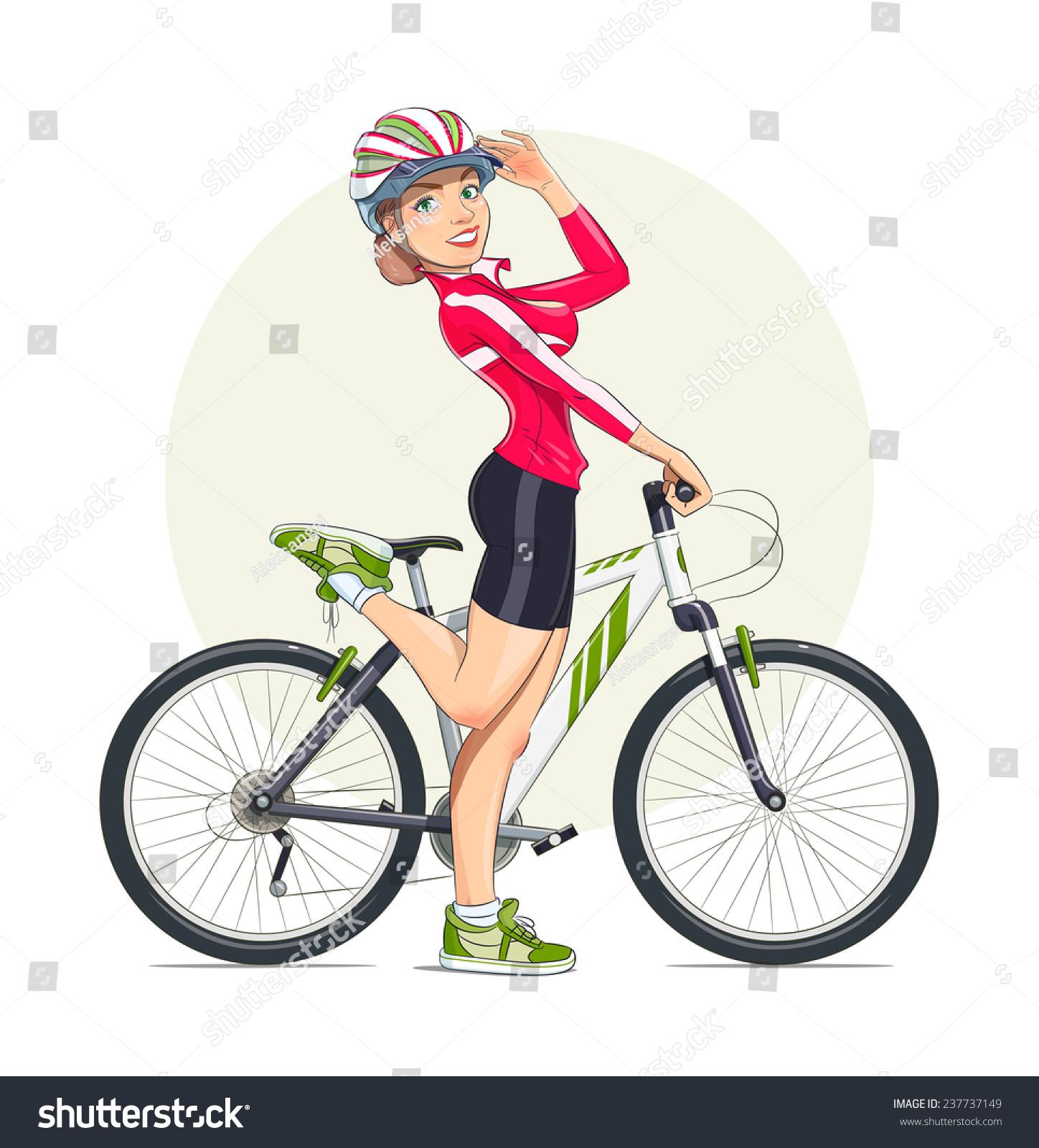 美丽的女孩与山地自行车头盔.运动.eps10矢量插图