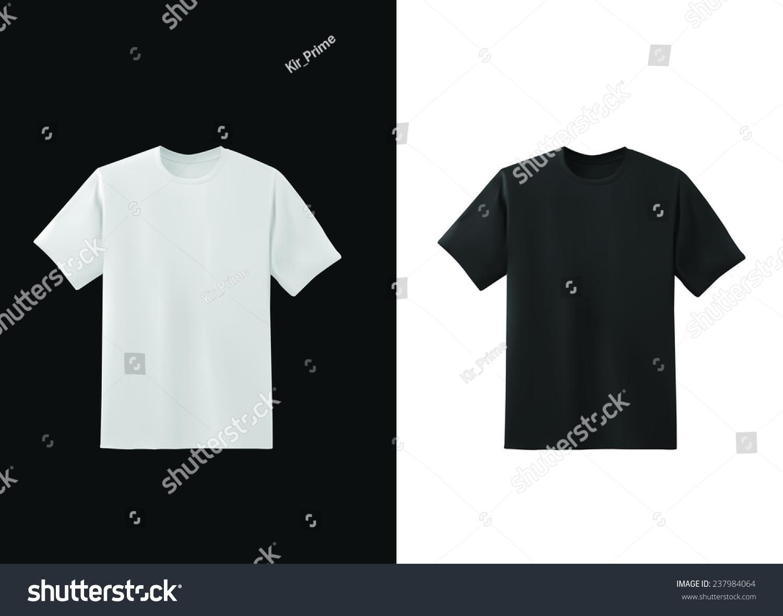 白色和黑色t恤模板收集,向量eps10插图-物体,美容/-()