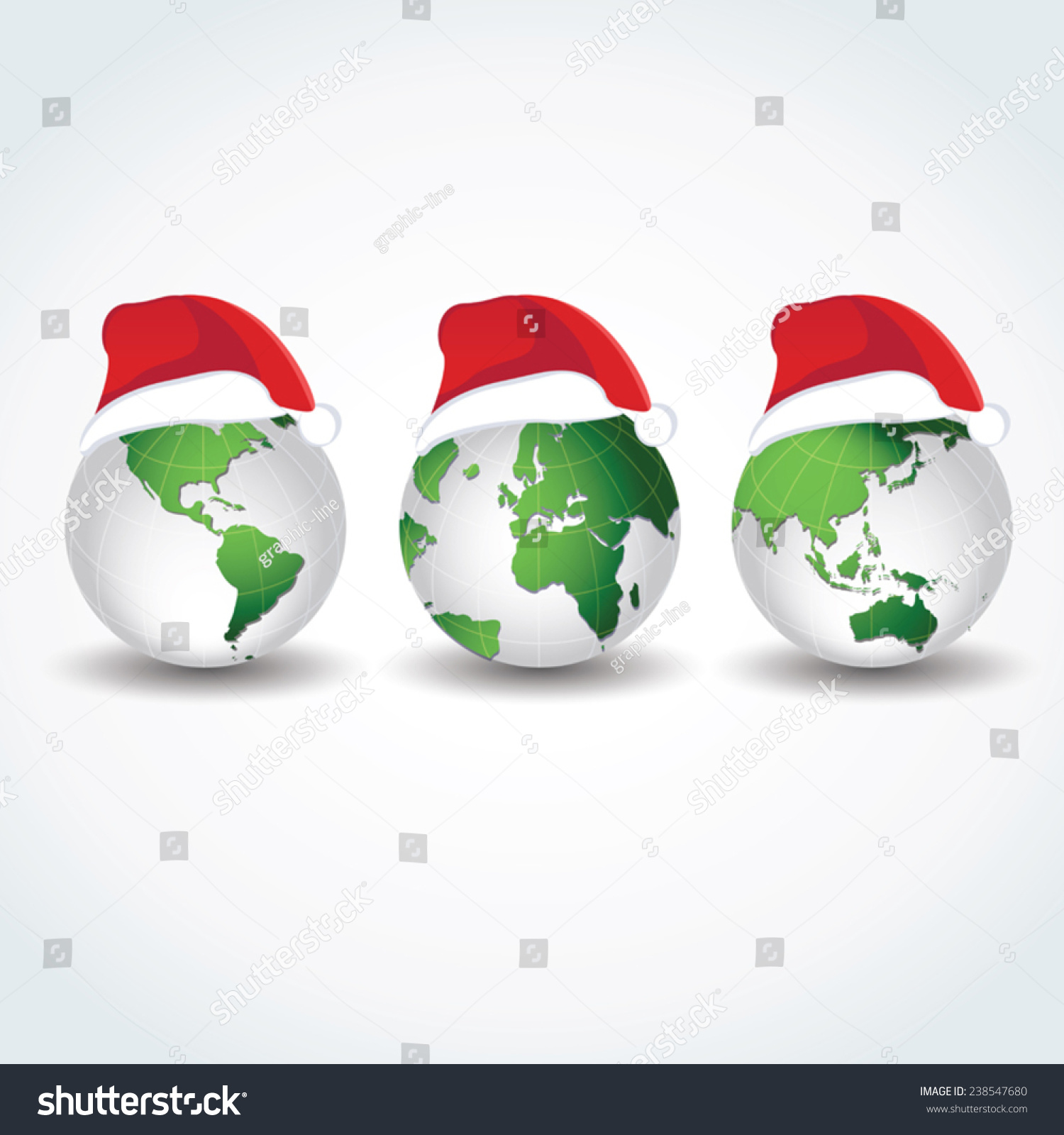 地球仪的圣诞帽子.欢乐世界.