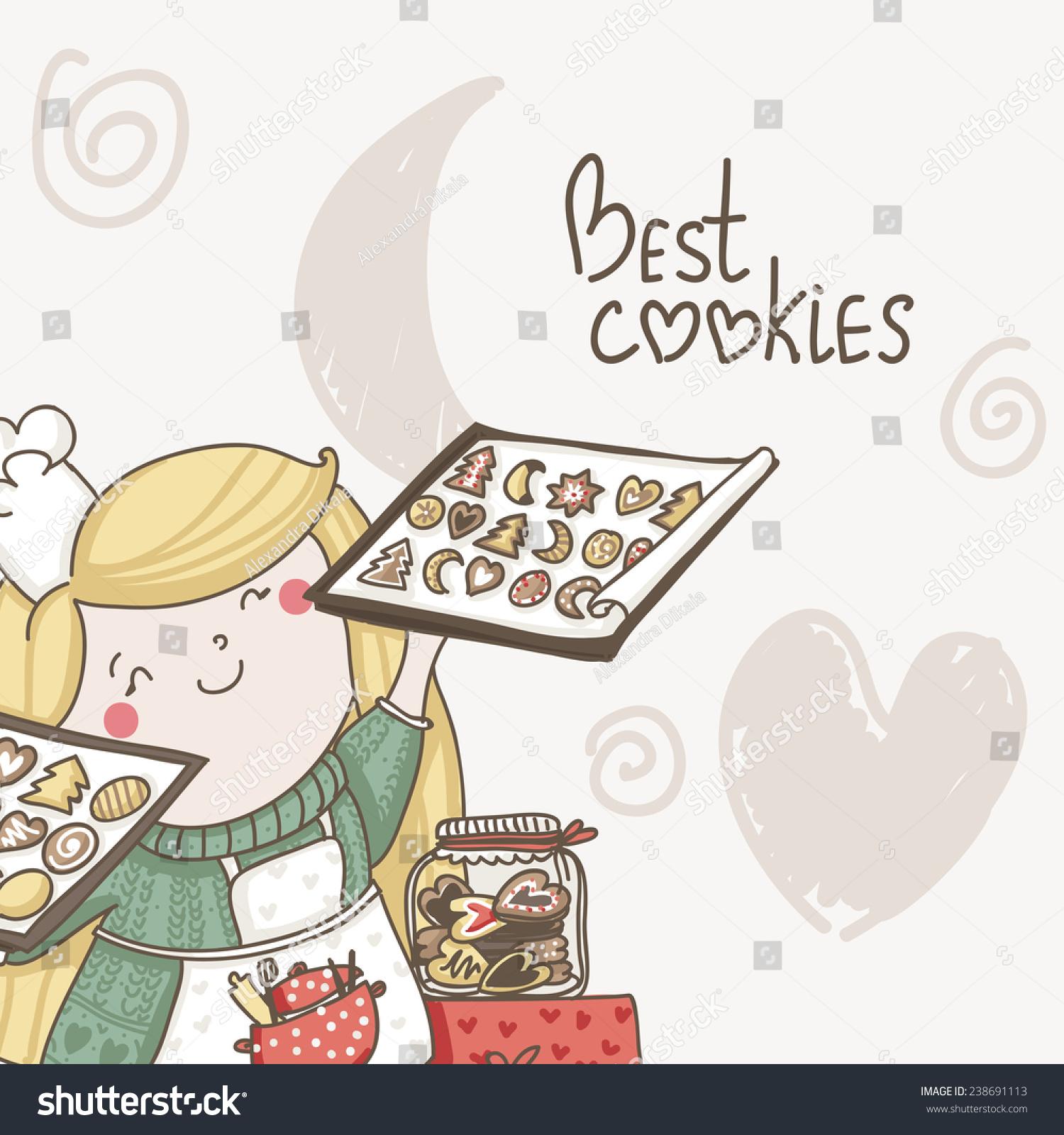 卡最好的饼干与可爱的女孩在这烤饼干.甜蜜的邀请-及