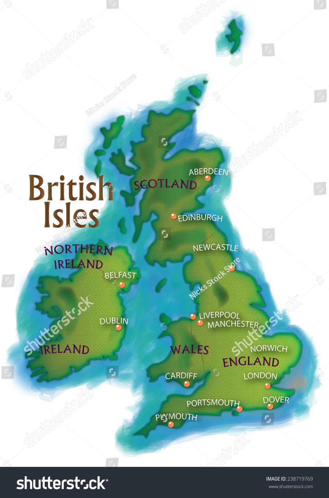 现代地图的不列颠群岛命名的主要城市