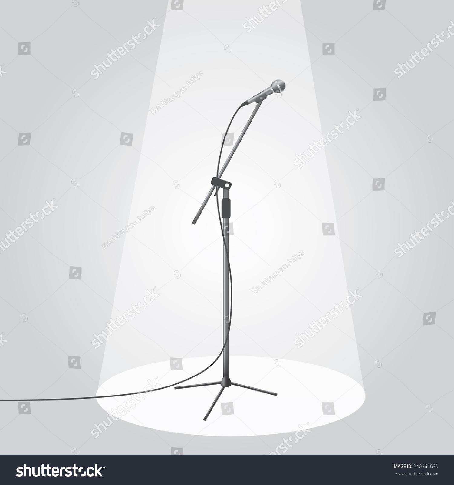 舞台上的麦克风在聚光灯下.eps10矢量插图.-符号/标志