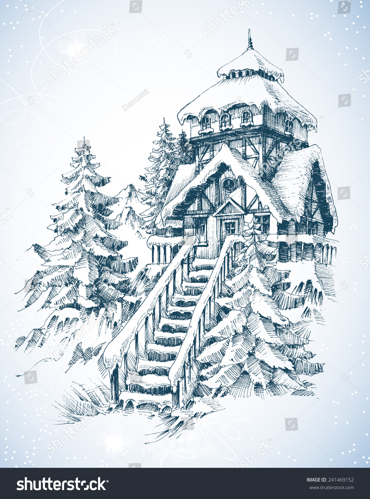冬天雪地的动物的简笔画